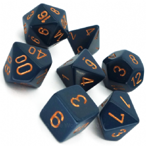 Blue & Gold Opaque Polyhedral 7 Dice Set